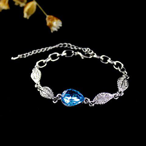 Chic Style Rhinestoned Leaf Shape Chain Bracelet - AS THE PICTURE
