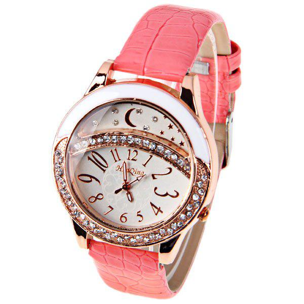 Fashionable HuaQing 2535 Quartz 12 Arabic Numbers Indicate Middle Set Auger Round Dial Watch for Female - Brown - PINK