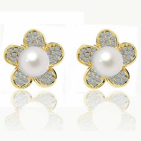 Gorgeous Rhinestoned Pearl Inlaid Flower Design Earrings - AS THE PICTURE