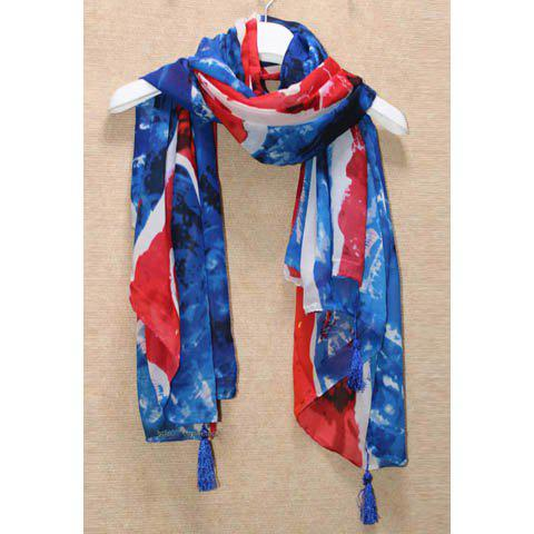 Chic Style Tassels Union Jack Print Scarf - BLUE