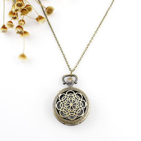 Filagree Flower Pocket Watch Pendant Necklace - AS THE PICTURE