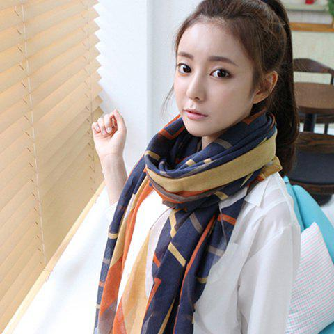 Fashion Striped Colored Scarf For Women - NAVY