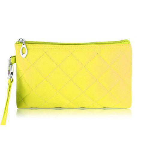 New Arrival Candy Color and Checked Design Cosmetic Bag For Women - YELLOW