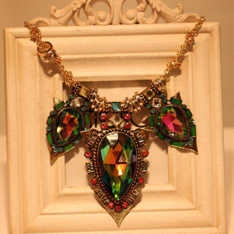 Faux Gemstone Water Drop Alloy Pendant Necklace - AS THE PICTURE
