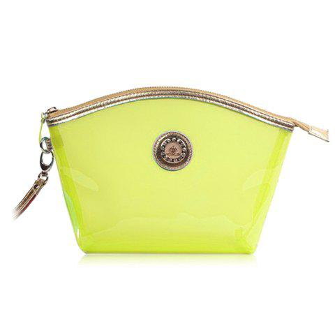 New Arrival Transparent and Zip Design Cosmetic Bag For Women - YELLOW