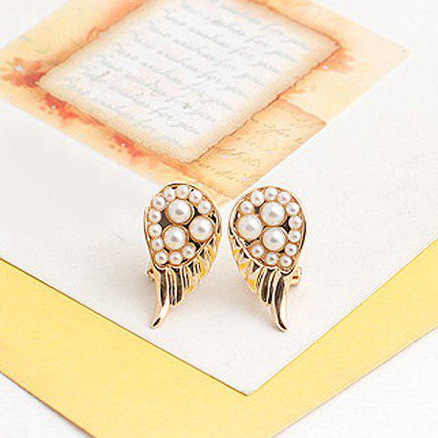 Pair of Sweet Pearl Embellished Wing Design Earrings - AS THE PICTURE