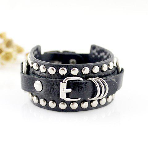 Fashionable Stylish Circle Decorated Leather Bracelet For Women - AS THE PICTURE