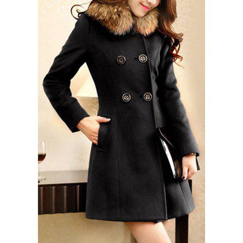 Worsted Double-Breasted Ladylike Style Long Sleeves Women's Coat - L BLACK