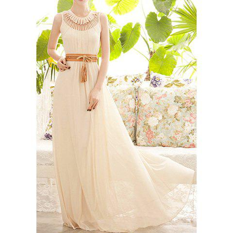 Women's Cotton Blend Solid Color Hollow Out Ruffles Stylish Maxi Dress(Without Belt) - APRICOT ONE SIZE