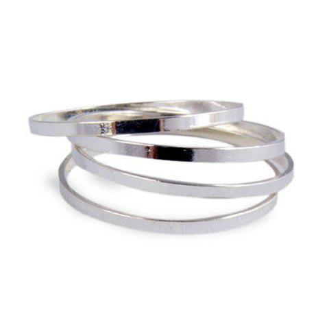 One Piece of Chic Style Solid Color Alloy Knuckle Ring - SILVER ONE SIZE