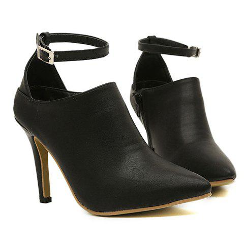 Office Pointed Toe and Buckle Design Women's Ankle Boots - BLACK 37