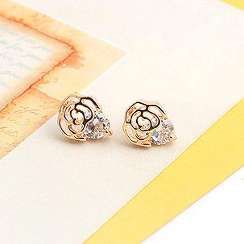 Pair Of Delicate Zircon Design Openwork Flower Shape Stud Earrings -  AS THE PICTURE