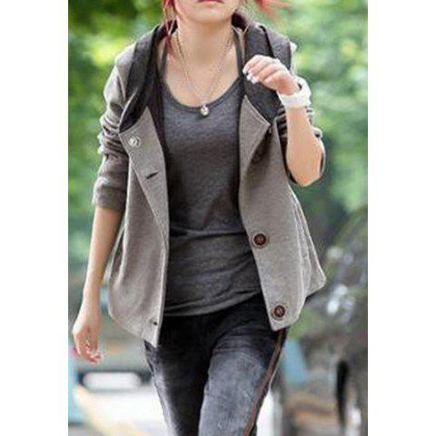 Casual Style Long Sleeves Cotton Blend Color Block Hooded Women's Jacket - GRAY ONE SIZE