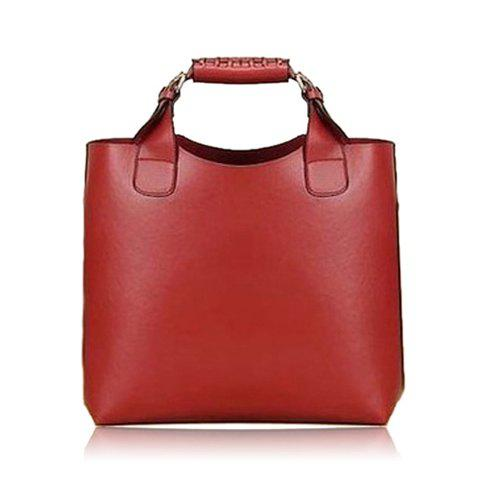 Fashion Buckle and Solid Color Design Leather Handbag For Women - WINE RED