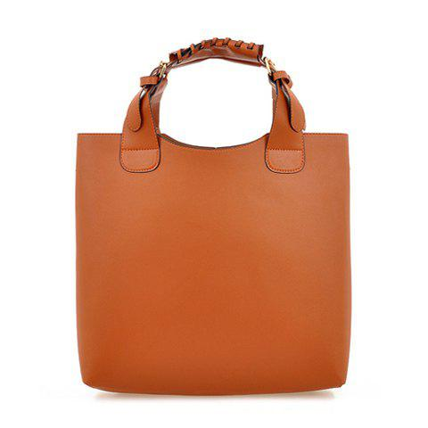 Fashion Buckle and Solid Color Design Leather Handbag For Women