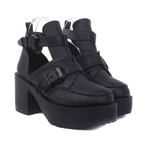 Fashion Buckle and Openwork Design Short Boots For Women - BLACK 38