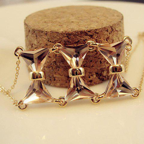 Characteristic Faux Crystal Bowknot Alloy Bracelet For Women