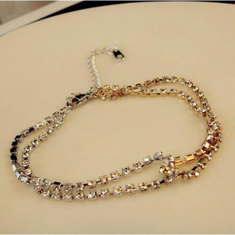 Chic Style Rhinestoned Multi-Layered Bicolor Chain Bracelet For Women
