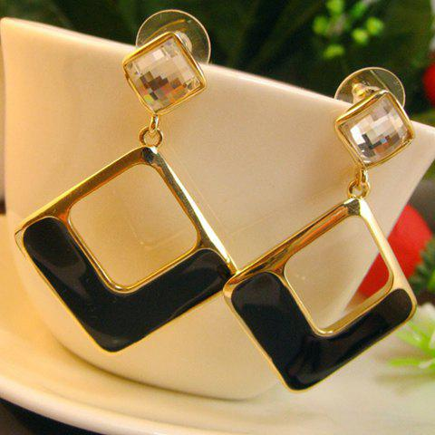 Pair Of Sweet Colored Glaze Openwork Square Drop Earrings