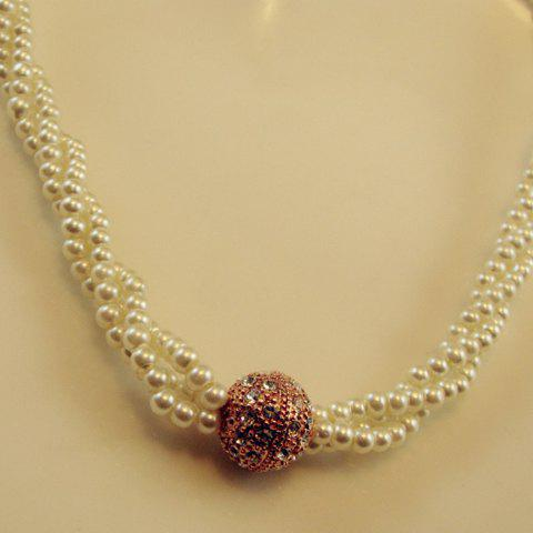Elegant Rhinestoned Ball Shape Multi-Layered Pearl Necklace
