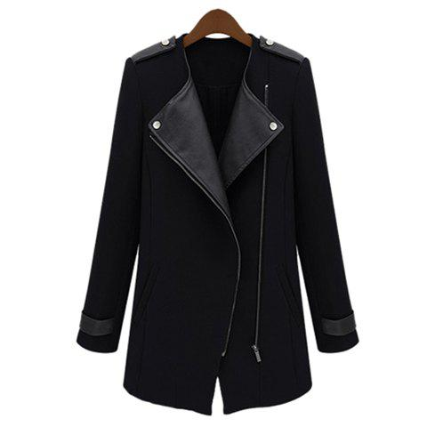 Women's Fashional PU Leather Splicing Zipper Up Long Sleeves Trench Coat - BLACK S