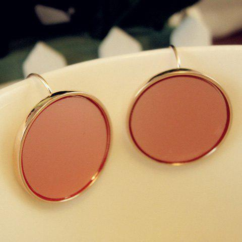 Pair of Simple Colored Round Earrings For Women - PINK