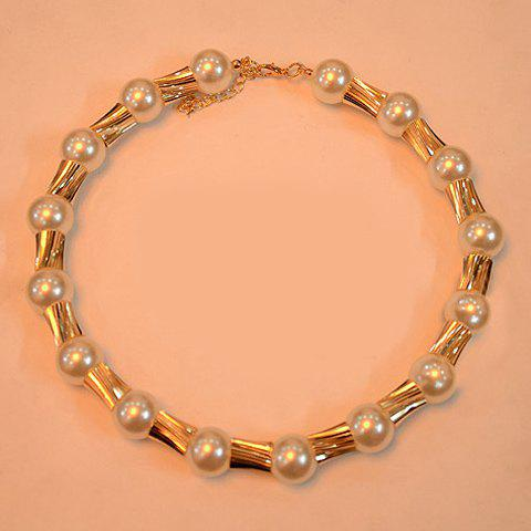 Characteristic Bamboo Joint Shape Design Chunky Pearl Necklace - AS THE PICTURE