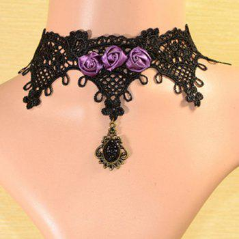 Retro Style Ribbon Rose and  Rhinestoned Lace Necklace