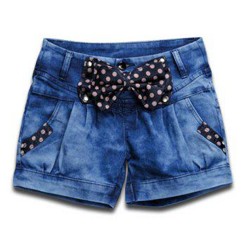 Fashionable Bowknot Polka Dots Design Loose-Fitting Pleated Denim Harem Shorts For Women