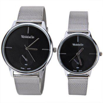 Valentine WoMaGe Quartz Watch with Strips Indicate Steel Watch Band for Couple - Blue - BLACK