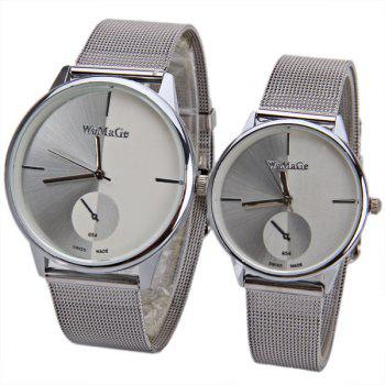 Valentine WoMaGe Quartz Watch with Strips Indicate Steel Watch Band for Couple - Blue - WHITE WHITE