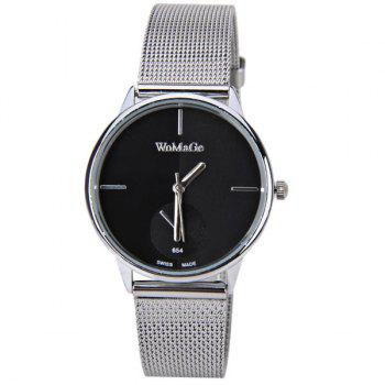 WoMaGe Quartz Watch with Strips Indicate Steel Watch Band for Women - Black - BLACK