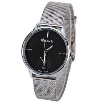 WoMaGe Quartz Watch with Strips Indicate Steel Watch Band for Women - Black