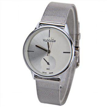 WoMaGe Quartz Watch with Strips Indicate Steel Watch Band for Women - White