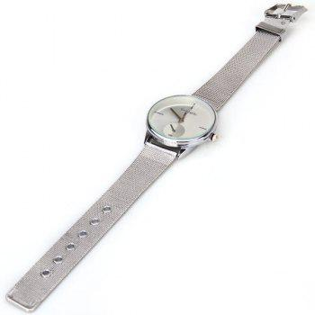 WoMaGe Quartz Watch with Strips Indicate Steel Watch Band for Women - White - WHITE