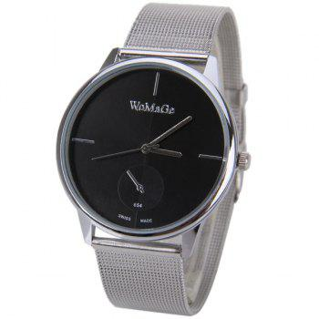 WoMaGe Quartz Watch with Strips Indicate Steel Watch Band for Men - BLACK BLACK