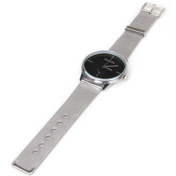 WoMaGe Quartz Watch with Strips Indicate Steel Watch Band for Men -  BLACK