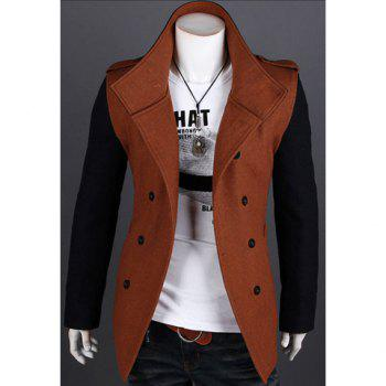 Korean Fashionable Style Turn Down Collar Color Block Long Sleeves Double-Breasted Woolen Coat For Men - BROWN BROWN