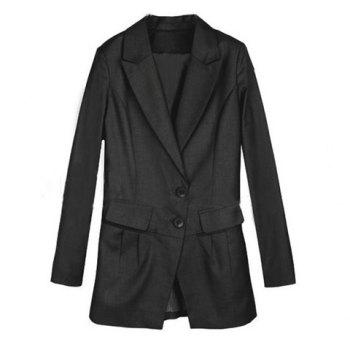 Charming Style Lapel Collar Two-Button Design Solid Color Long Sleeves Slimming Women's Blazer BLACK