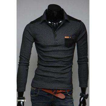 Fashionable Style Shirt Collar PU Leather Splicing Long Sleeves Slimming Cotton Polo Shirt For Men - DEEP GRAY 2XL