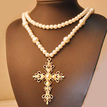 Layered Faux Pearl Cross Pendant Sweater Chain