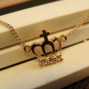 Diamante Hollow Out Crown Alloy Pendant Necklace