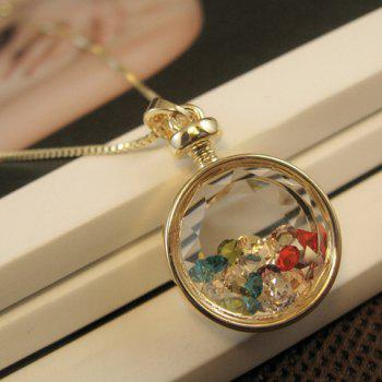 Faux Crystal Embellished Round Pendant Necklace