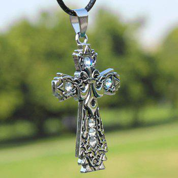 Diamante Crucifix Pendant Necklace - WHITE WHITE