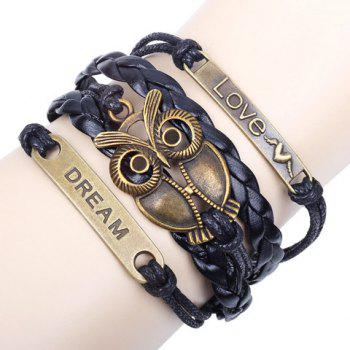 Night Owl Braided Multilayered Bracelet - BLACK BLACK