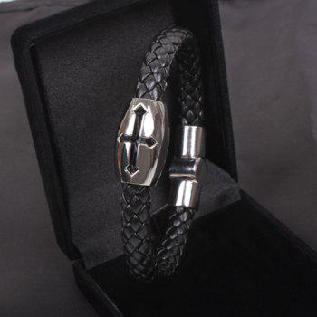 Vintage Hollow Cross Embellished Knitting Design PU Leather Cuff Bracelet - BLACK BLACK