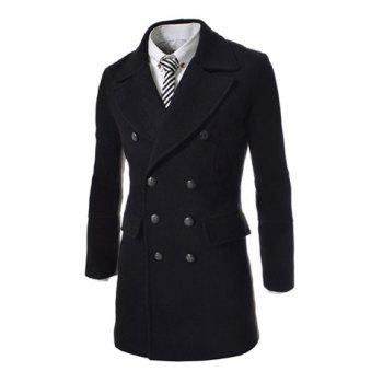 Fashion Style Turndown Collar Solid Color Slit Back Design Woolen Long Sleeves Pea Coat For Men