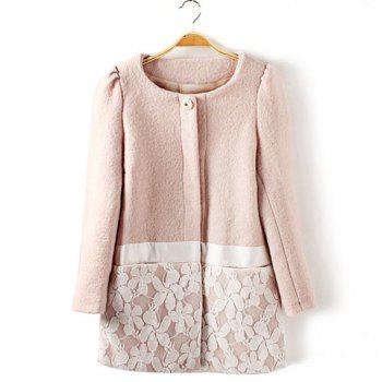 Vintage Scoop Neck Long Sleeve Lace Embellished Coat For Women