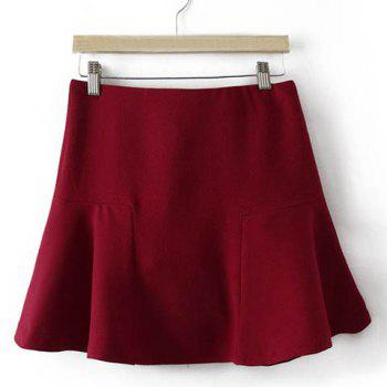 Simple Design Solid Color Ruffles Skirt For Women