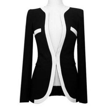 Formal Black And White Match Polyester Women's Blazer